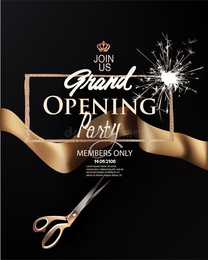 Tarjeta elegante de la invitación de la gran inauguración con la cinta y el marco del oro libre illustration