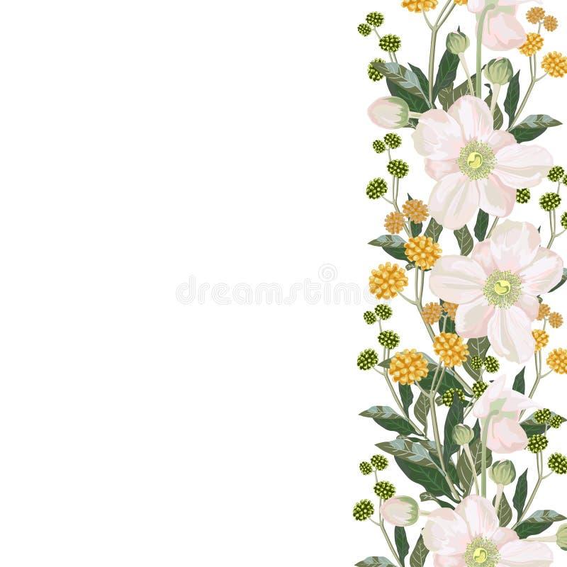 Tarjeta elegante de las anémonas de la primavera y de las hierbas amarillas Un ramo decorativo de la primavera stock de ilustración