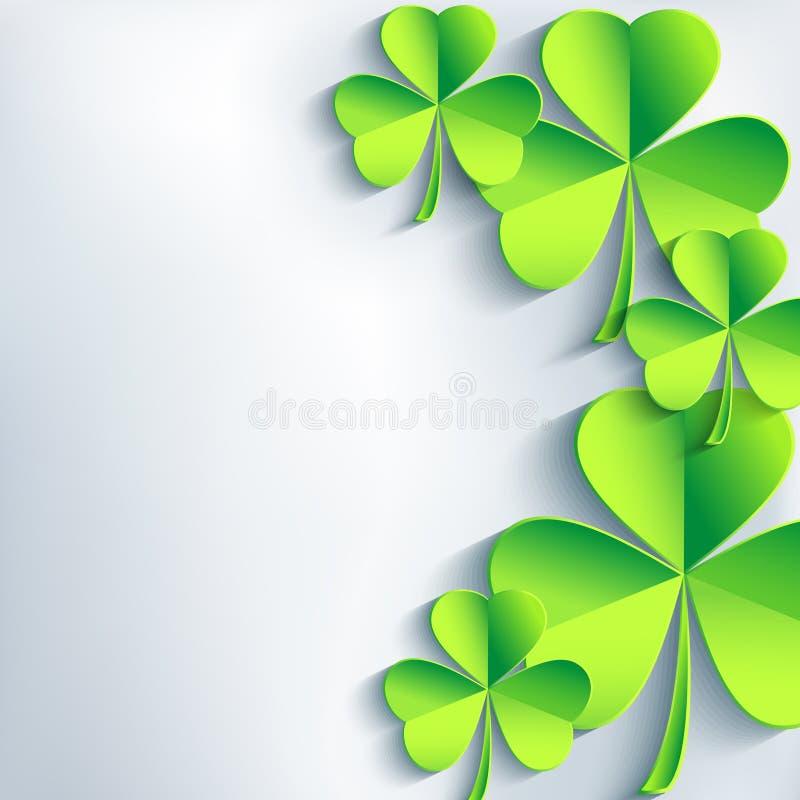 Tarjeta elegante del día del St. Patricks con el trébol de la hoja stock de ilustración