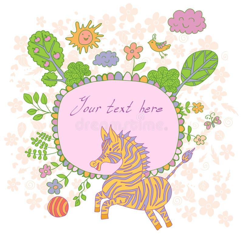 Tarjeta elegante hecha de flores lindas, cebra garabateada, árboles de la historieta, ilustración del vector