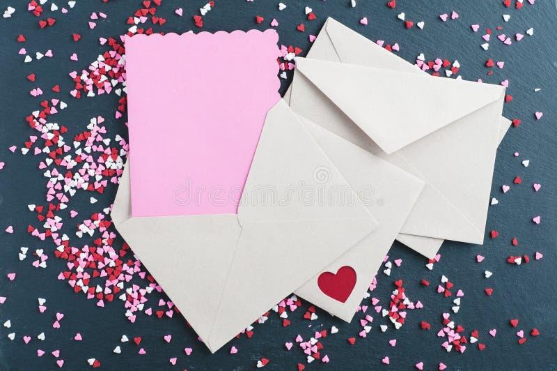 Tarjeta en blanco de día de San Valentín imagenes de archivo