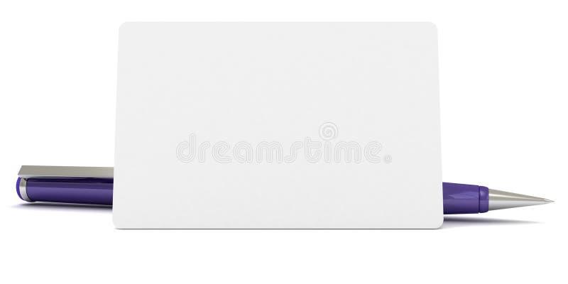 Tarjeta en blanco de la visita para el texto con la pluma azul foto de archivo libre de regalías