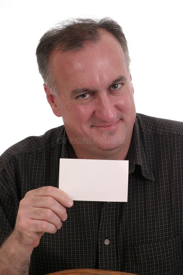 Tarjeta en blanco sonriente 2 del hombre imágenes de archivo libres de regalías