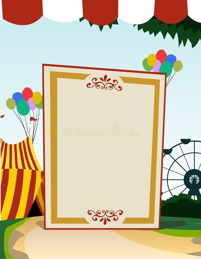 Tarjeta en blanco vertical del tema del carnaval stock de ilustración