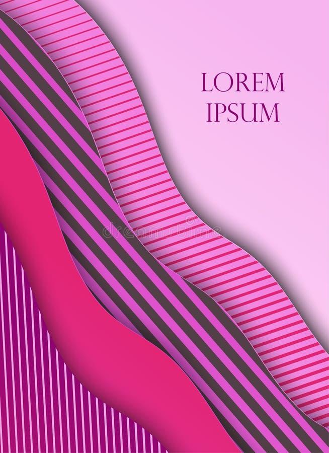 Tarjeta en el estilo cortado de papel, diseño mínimo de la plantilla Ondas de papel abstractas, capas, arte 3d Ilustración del ve stock de ilustración