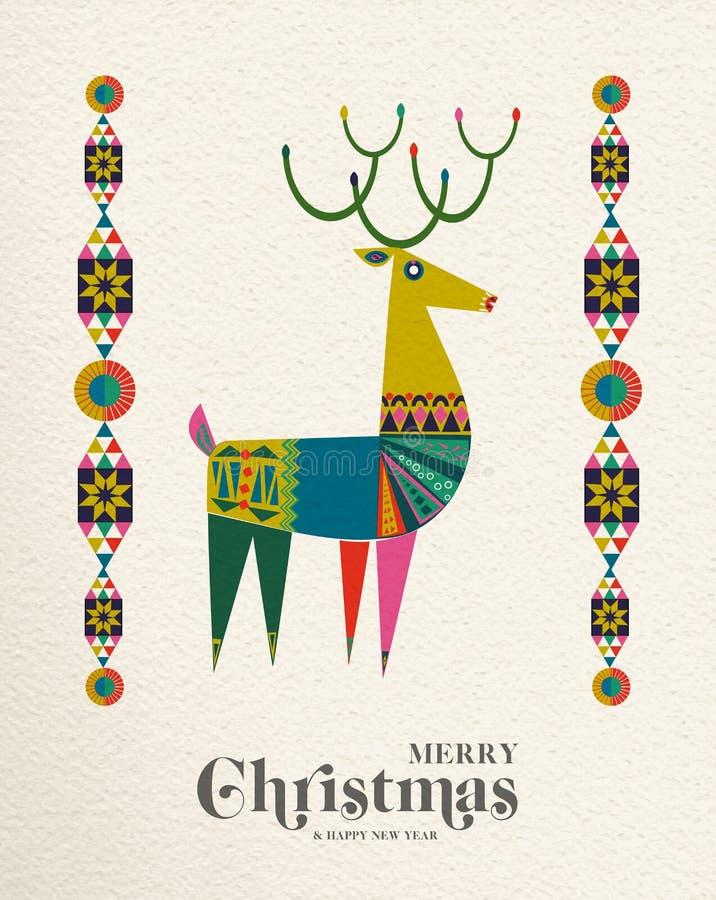 Tarjeta escandinava de los ciervos de la Navidad y del Año Nuevo libre illustration