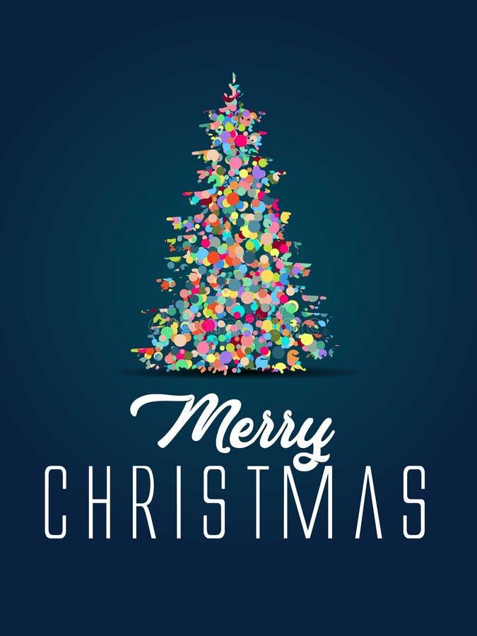 Tarjeta especial de la máscara del recortes del árbol de pino de la Feliz Navidad burbuja, árbol de pino de las bolas con el elem libre illustration