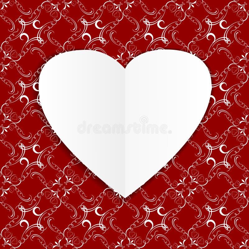 Tarjeta estilizada con el corazón de papel libre illustration