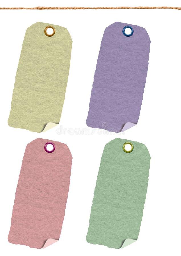 Tarjeta, etiqueta engomada, vieja, escritura de la etiqueta de la materia textil imágenes de archivo libres de regalías