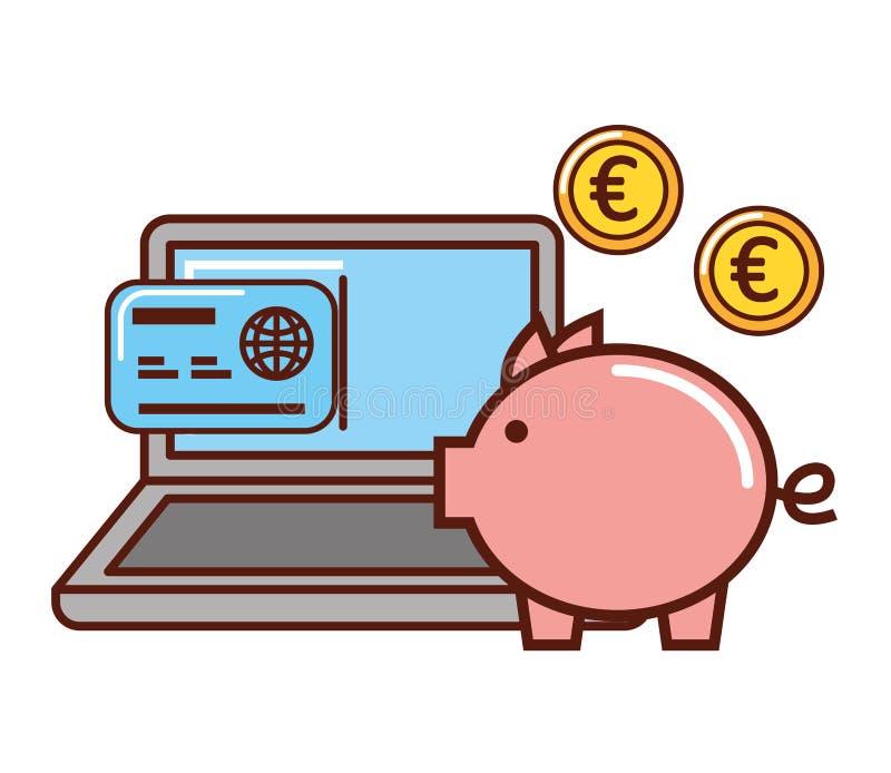Tarjeta euro del cerdit del ordenador port?til de la moneda del dinero del negocio libre illustration