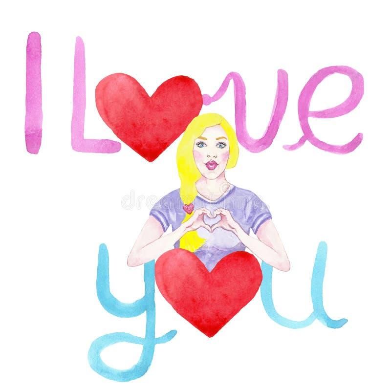 Tarjeta exhausta del amor de la mano con las mujeres jovenes, los corazones y la mano poniendo letras al texto sobre amor Para lo stock de ilustración