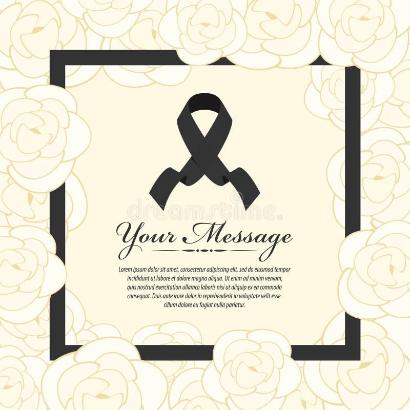 Tarjeta fúnebre - la cinta y el lugar negros para el texto en rosa blanca abstracta del amarillo y vector negro del marco diseñan ilustración del vector