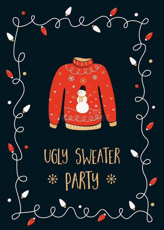 Tarjeta fea de la invitación del partido del suéter stock de ilustración