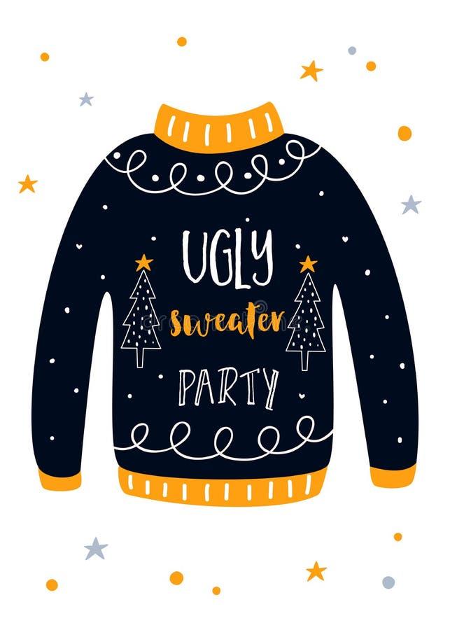 Tarjeta fea de la invitación de la fiesta de Navidad del suéter Modelo del vector libre illustration