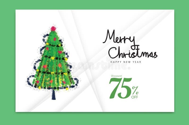 Tarjeta 2019, Feliz Año Nuevo, bandera, árbol de navidad, diseño de tarjeta de la decoración del día de fiesta, folleto, plantill ilustración del vector