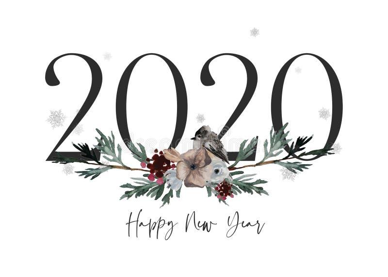Tarjeta Feliz Año Nuevo 2020, regalo festivo de Snowy foto de archivo