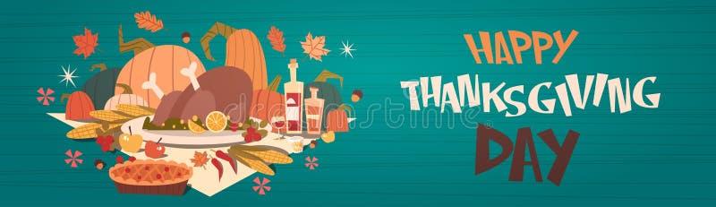 Tarjeta feliz de Autumn Traditional Harvest Holiday Greeting del día de la acción de gracias ilustración del vector