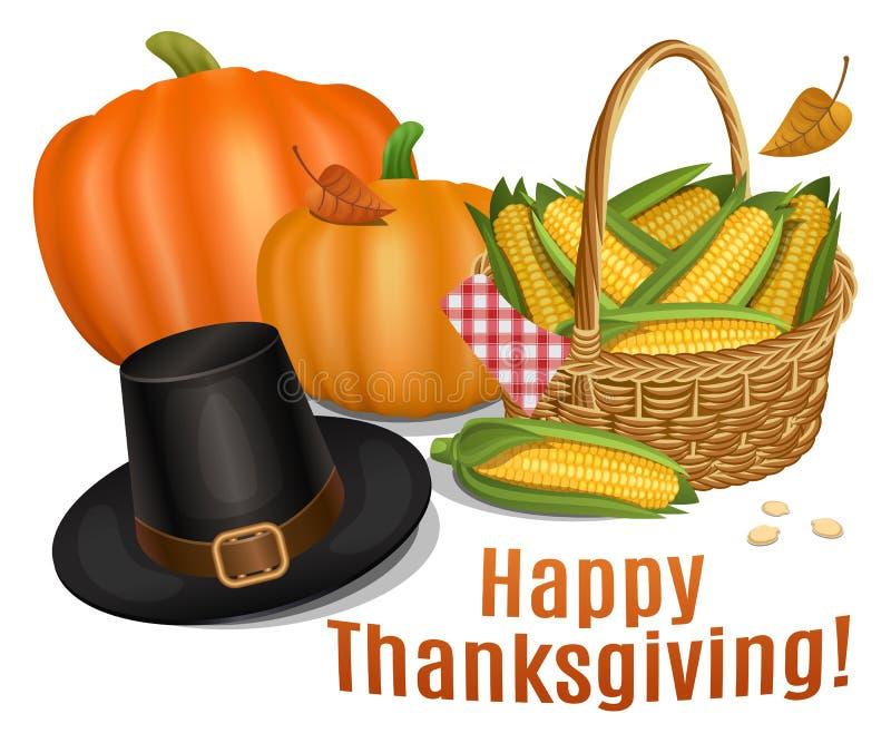 Tarjeta feliz de la acción de gracias Sombrero de Piligrim con las calabazas anaranjadas libre illustration