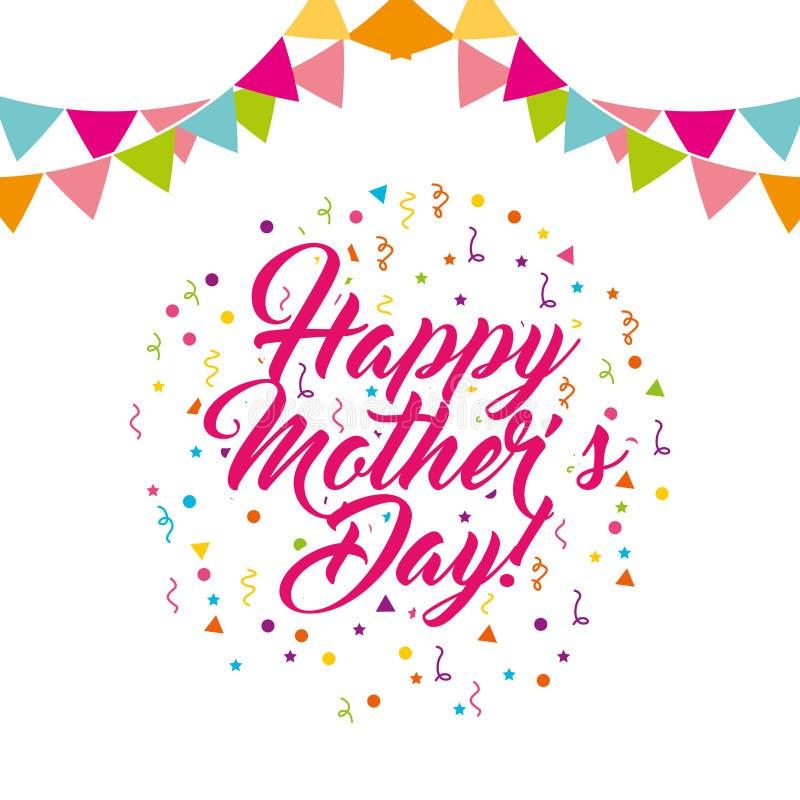 Tarjeta feliz de la celebración del día de madres ilustración del vector
