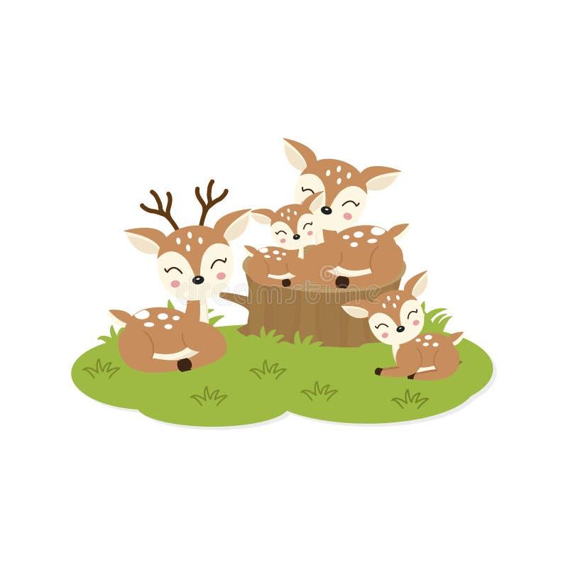 Tarjeta feliz de la familia Familia linda de los ciervos stock de ilustración