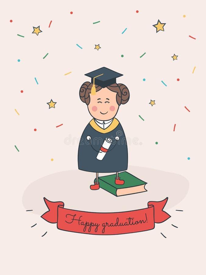 Tarjeta feliz de la historieta de la graduación con la muchacha preciosa imágenes de archivo libres de regalías