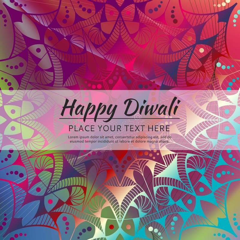 Tarjeta feliz de la invitación de Diwali Mandala del vector en el beckground calorful libre illustration