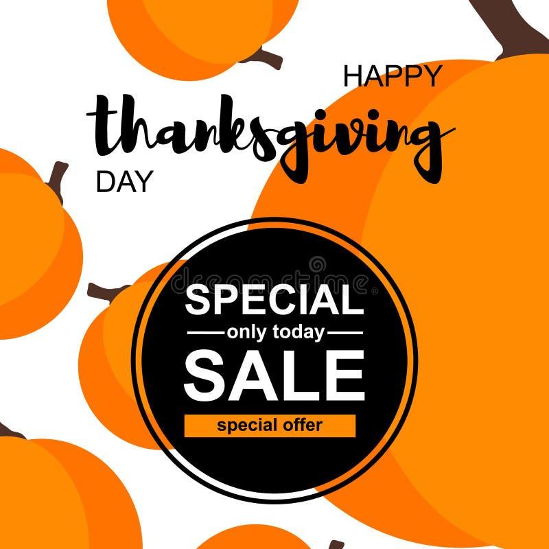 Tarjeta feliz de la venta del día de la acción de gracias con las calabazas stock de ilustración