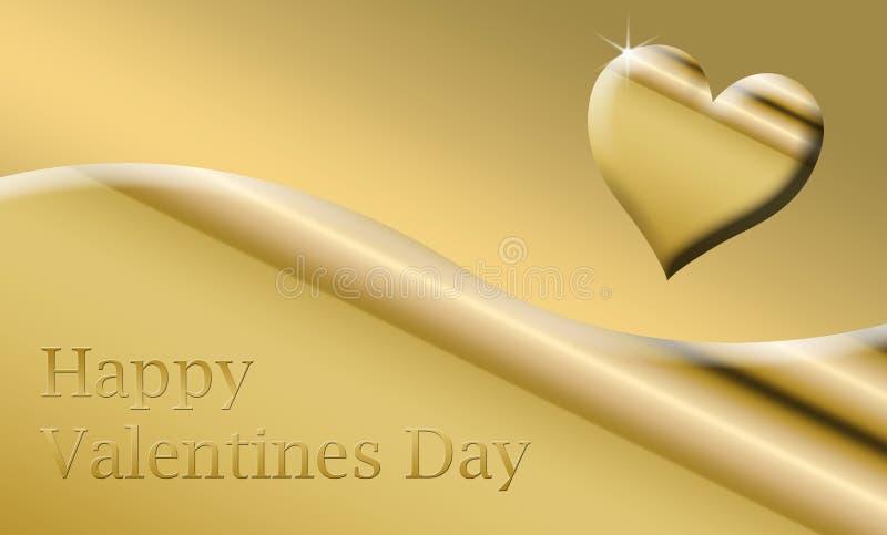 tarjeta feliz de las tarjetas del día de San Valentín del oro stock de ilustración