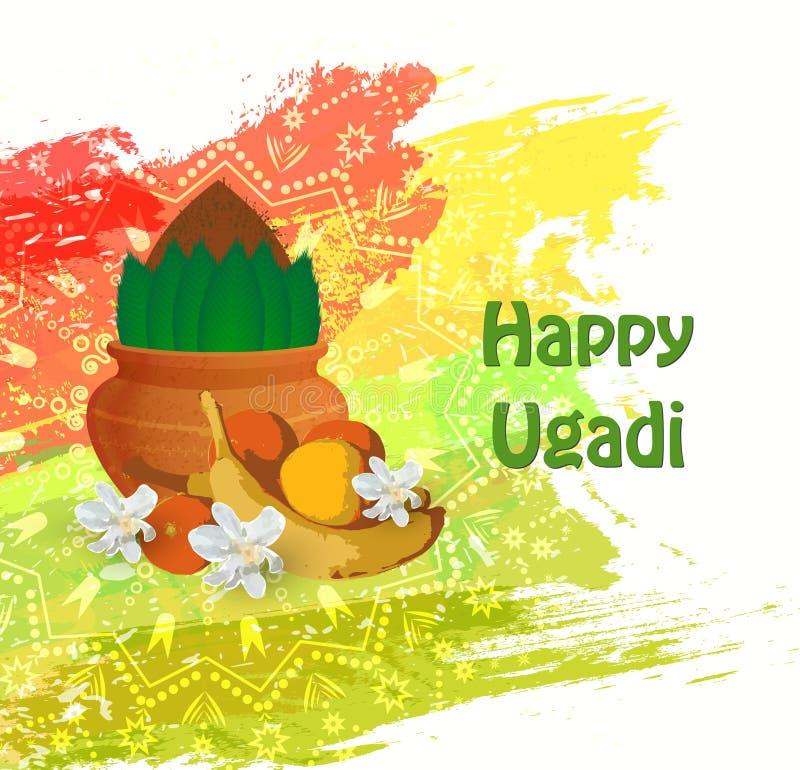 Tarjeta feliz de Ugadi imagen de archivo libre de regalías