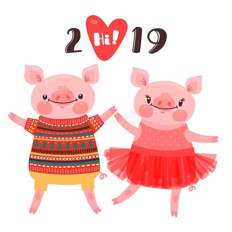 Tarjeta feliz del Año Nuevo 2019 Los pares de cochinillos divertidos felicitan por el día de fiesta Cerdo en tutú y verraco del b libre illustration