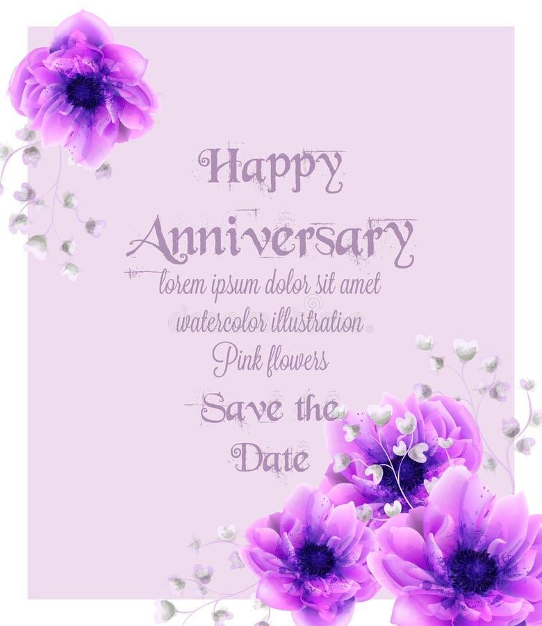 Tarjeta feliz del aniversario con vector rosado de la acuarela de las flores Elementos florales hermosos de la decoración de los  libre illustration