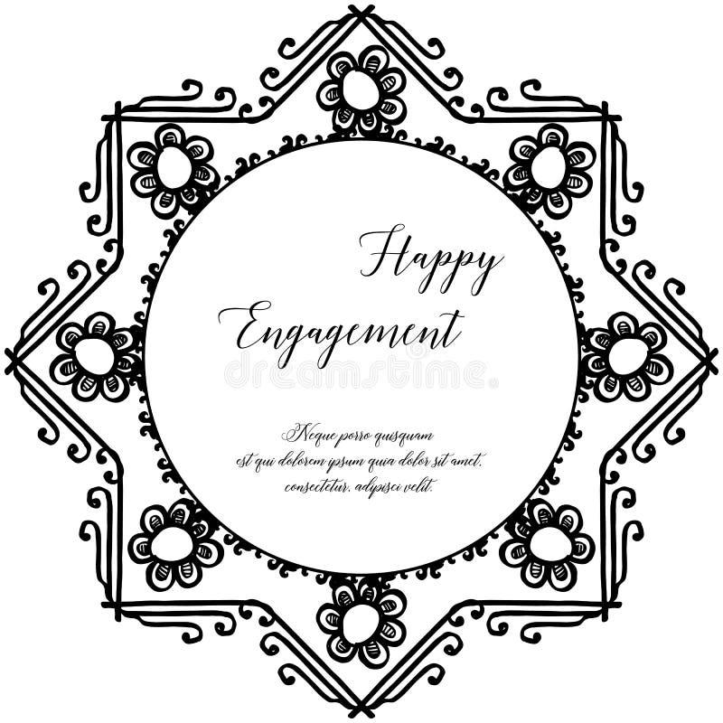Tarjeta feliz del compromiso de la invitación, ornamento floral, con el marco del vintage Vector ilustración del vector