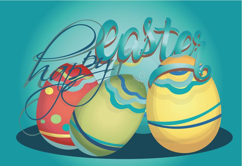 Tarjeta feliz del día de fiesta de Pascua stock de ilustración