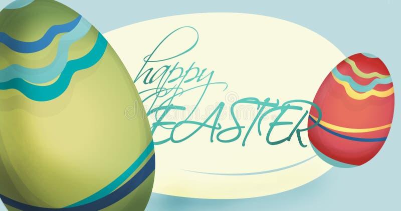 Tarjeta feliz del día de fiesta de Pascua con los huevos libre illustration