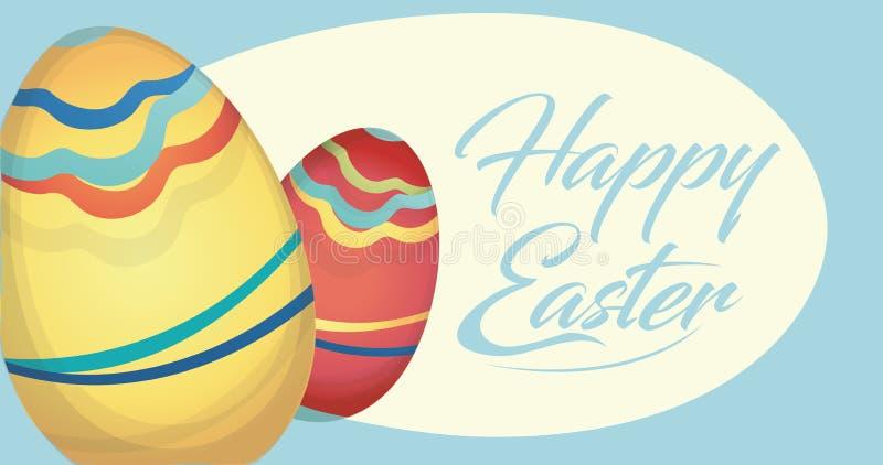 Tarjeta feliz del día de fiesta de Pascua con los huevos stock de ilustración
