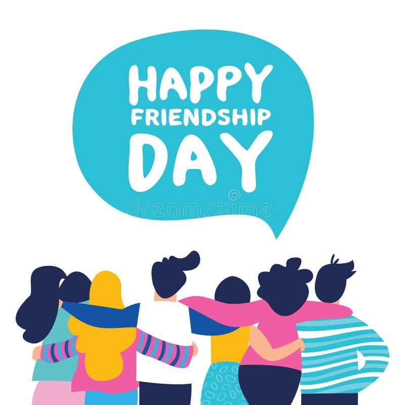 Tarjeta feliz del día de la amistad del abrazo del equipo del grupo del amigo ilustración del vector