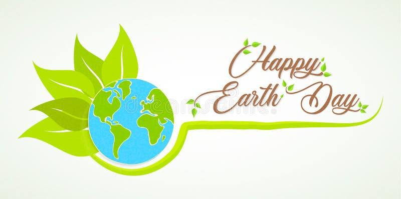 Tarjeta feliz del Día de la Tierra del planeta natural verde stock de ilustración