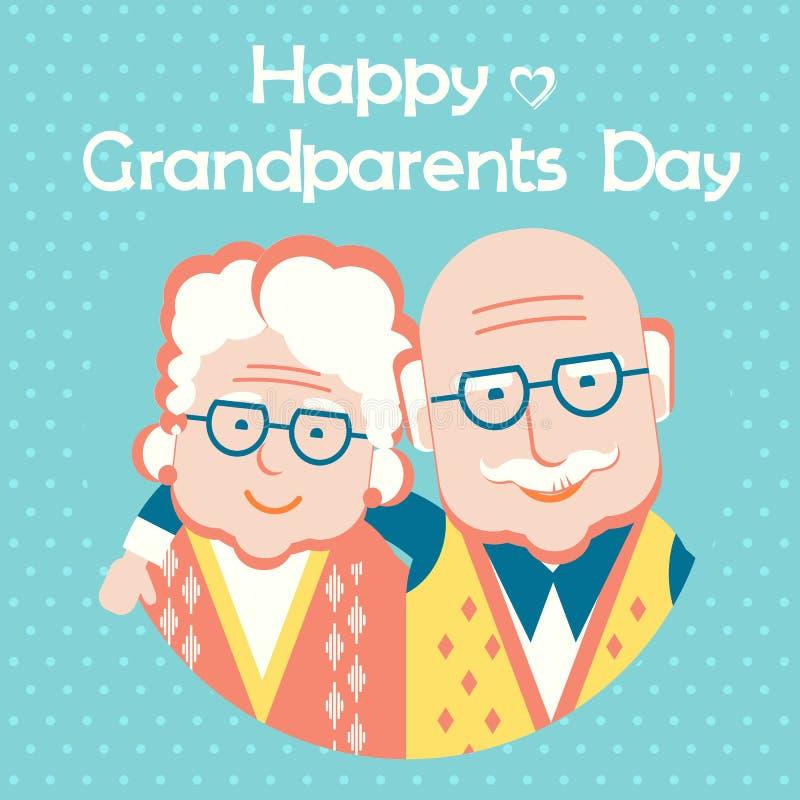 Tarjeta feliz del día de los abuelos con el texto Estilo plano del vector stock de ilustración