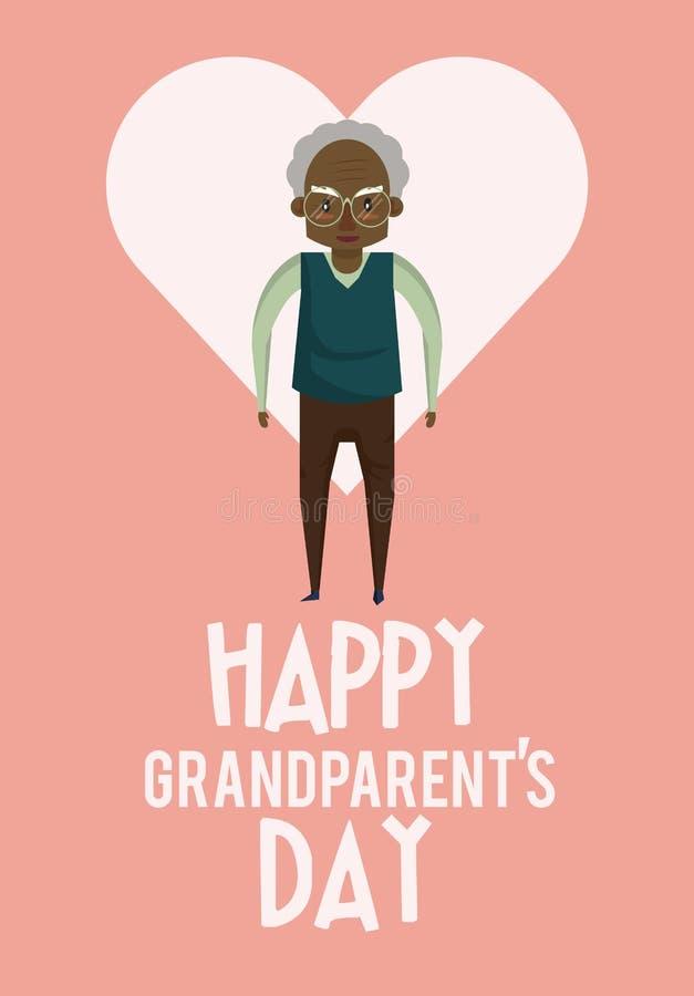 Tarjeta feliz del día de los abuelos con las historietas stock de ilustración