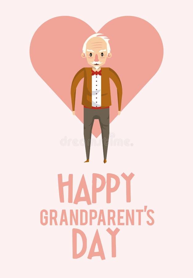 Tarjeta feliz del día de los abuelos con las historietas libre illustration