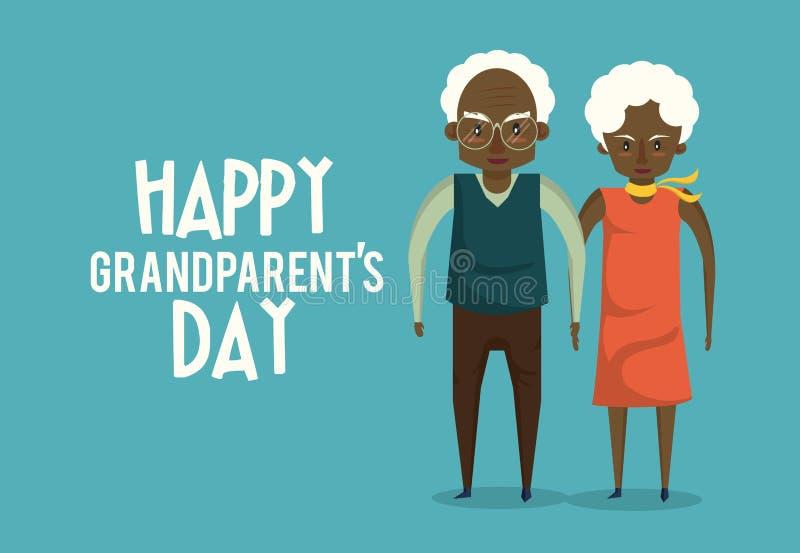Tarjeta feliz del día de los abuelos con las historietas ilustración del vector