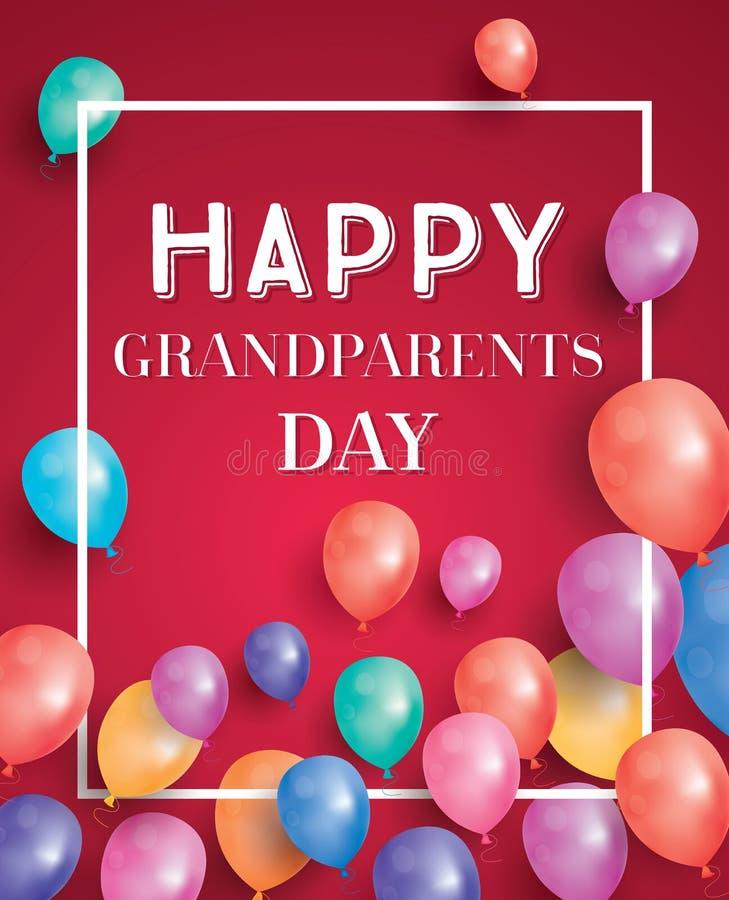 Tarjeta feliz del día de los abuelos con los globos del vuelo y el marco blanco stock de ilustración