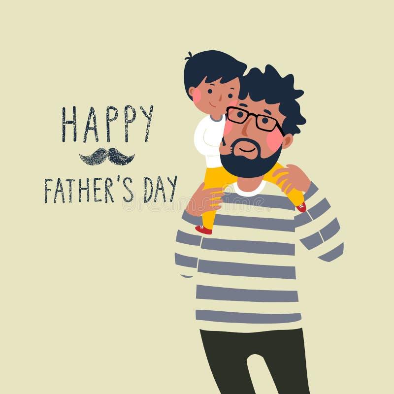 Tarjeta feliz del día de los father's Niño pequeño lindo en su hombro de los father's stock de ilustración