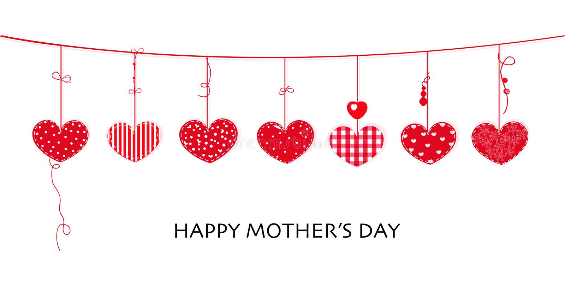 Tarjeta feliz del día de madre con el diseño de la frontera que cuelga corazones rojos stock de ilustración