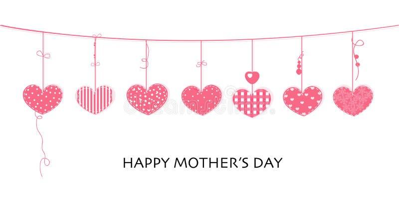 Tarjeta feliz del día de madre con el diseño de la frontera que cuelga corazones rosados ilustración del vector