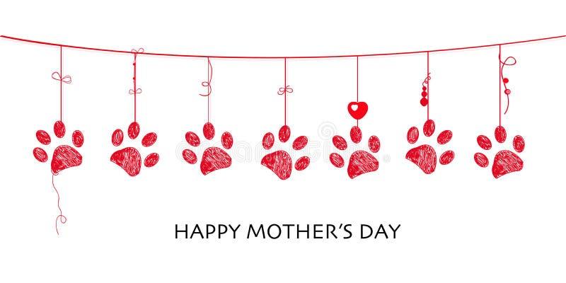 Tarjeta feliz del día de madre con el diseño de la frontera que cuelga impresiones rojas de la pata libre illustration