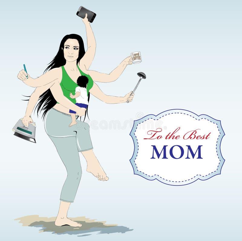 Tarjeta feliz del día de madres stock de ilustración