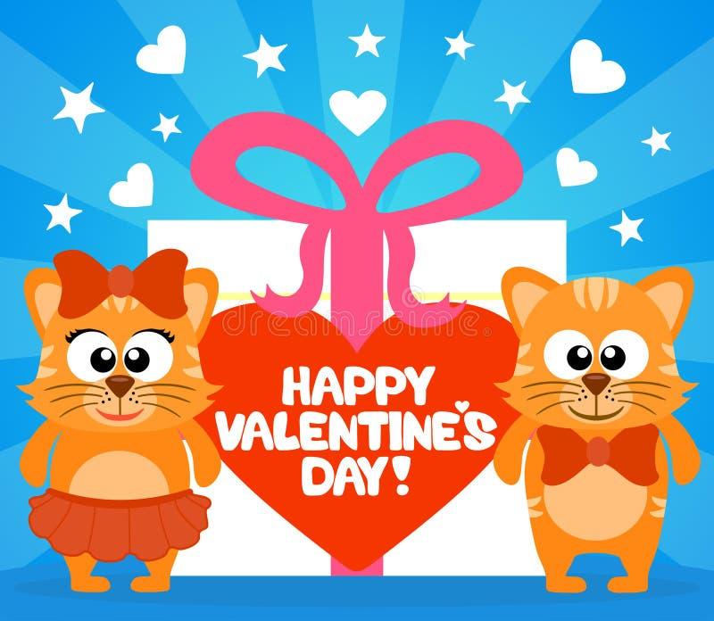 Tarjeta feliz del día de tarjeta del día de San Valentín con vector de los gatos libre illustration