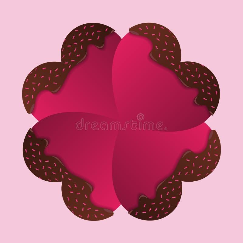 Tarjeta feliz del día de tarjetas del día de San Valentín Corazones del chocolate Vector ilustración del vector