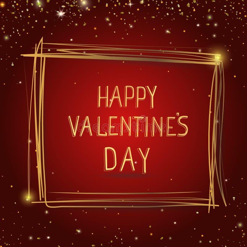Tarjeta feliz del día de tarjetas del día de San Valentín Dé las letras exhaustas con la frontera del marco del oro en fondo rojo ilustración del vector